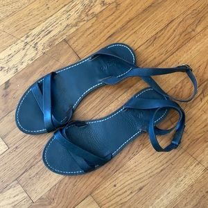 Madewell Black Ankle Strap Leather Sandals Size 8